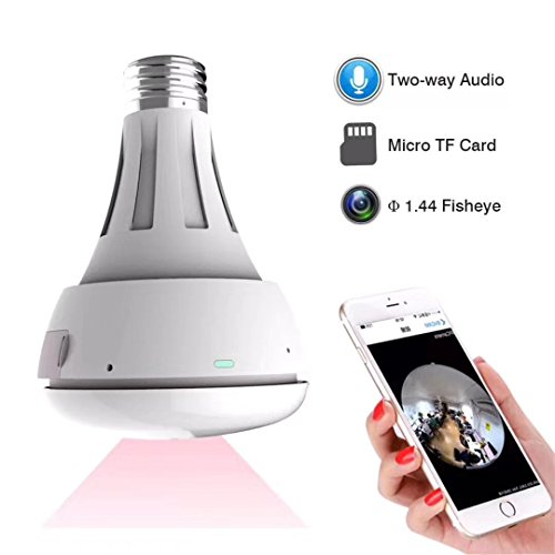 MECO WiFi Bulb Security Camera - Fisheye LED Light 360° Panoramic for Remote Home Security System, Motion Detection and Two Way Talking for iPhone/Android Phone