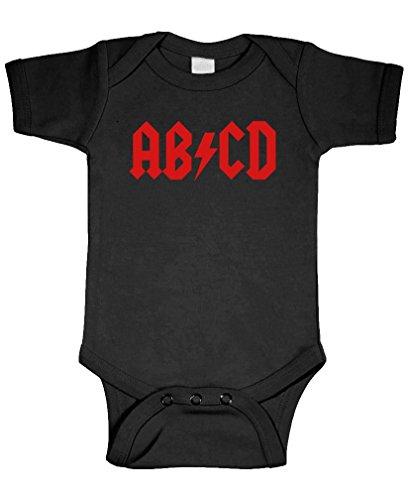 ABCD - one piece ab/cd rock music letters - Cotton Infant Bodysuit, 6m, Black (Shoulder Cd Music)