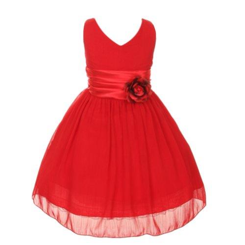 Kiki Kids Chiffon Double V Neck Flower Girl Dress, Made In USA (Size 14, - Size 14 Usa