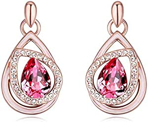 Swarovski White Gold Plated Drop Shapped Women Stud Earring with Rose Red Crystal