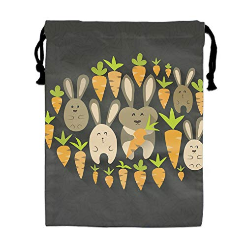 Hair Dryer Bags Drawstring Bag Container Hairdryer Bag,11.8 by 15.7 Inch Eastern Rabbits And Carrots Set -