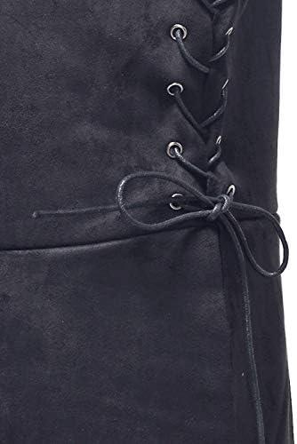 YAHUIPEIUS Medieval Warrior Waistcoat Renaissance Mid-Long Men Vests Victorian Stage Suit Costume