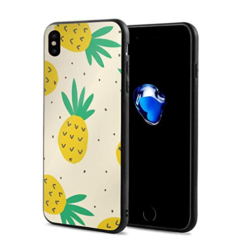 LawDK Summer Pineapple Pattern-01.png iPhone X Case iPhone Xs Cover Soft Rubber Lining Shock Absorption Protective Case for iPhone X ()