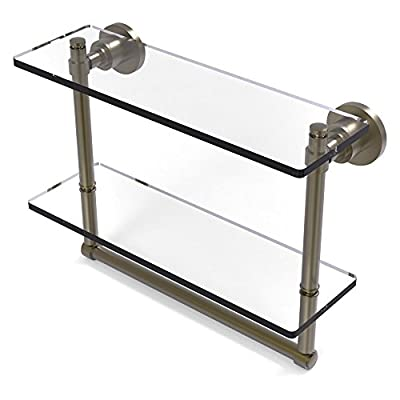 Allied Brass Washington Square 2 Tier Glass Shelf with Integrated Towel Bar