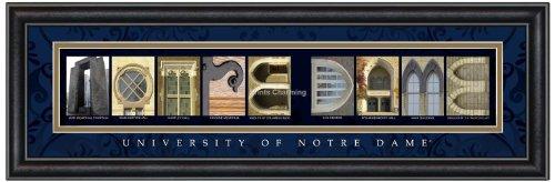 Prints Charming Letter Art Framed Print, U of Notre Dame-Notre Dame, Classic Blue Border (Border Dame Notre)