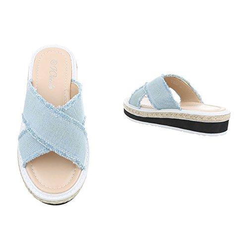 Bleue Ital Design Femme Plat Sandales Lumière Chaussures Mules fAqzw07
