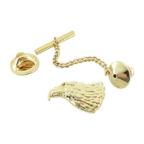 Creative Pewter Designs, Pewter Bald Eagle Head Tie Tack, Gold Plated, BG050TT