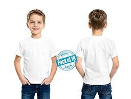 Andrew Scott Boys\' Cotton Crew Neck T Shirt Undershirts - Bonus Pack of 18 (Large 14-16, 18 Pack - Bright White)
