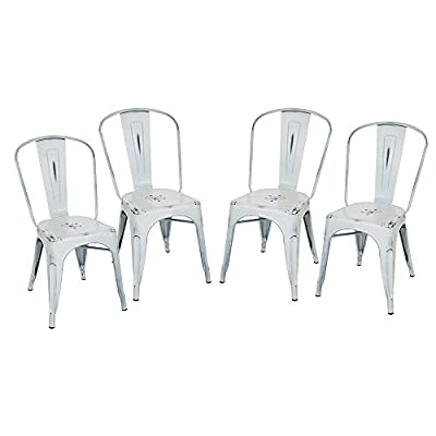 Glitzhome Vintage Stackable Metal Side Chairs, Set Of Four