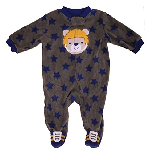 Carter's Infant Boys Green Football Teddy Bear Fleece Pajama Sleeper 0-3m