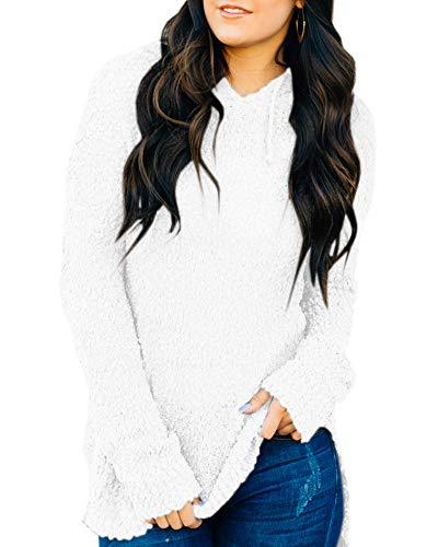 - Womens Sweaters Hooded Fuzzy Long Sleeve Loose Fleece Hoodies Knit Tunics