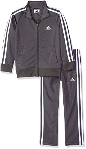 adidas Boys' Little Tricot Jacket & Pant Clothing Set, Grey Five, 7
