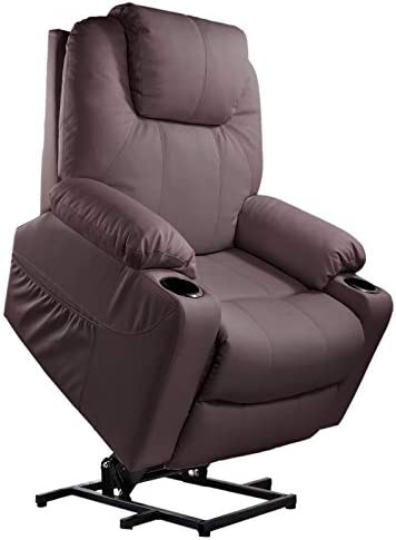 Furgle Power Lift Recliner Chair with Massage, Heat and Vibration Elderly Massage Recliner TUV Certified Living Room Lounge Sofa Faux Leather with 2 Remotes, Side Pockets and Cup Holders – Brown
