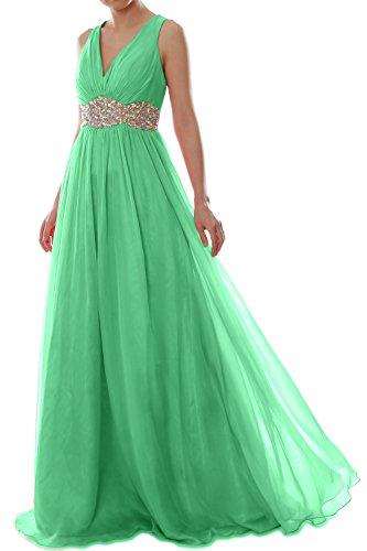 Chiffon Formal Gown Prom Women Menta Long Macloth Wedding Straps V Dress Ball Neck 6z1fIqB