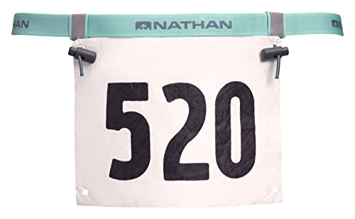 Nathan Reflective Belt - Nathan Race Number Belt with Clip & Reflective Bands, Cockatoo, One Size