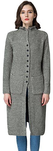 Cardigan Button Long Three (KUBITU Women's Casual Button Front Long Sleeved Chunky Knit Plus Size Sweater Cardigan Outwear with Pocket(X-Large, Grey))