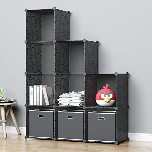 MGINELS Storage Cubes Organizer DIY Plastic Closet Cabinet, Living Room Office Bookcases Shelves for Books, Cloths, Toys, Shoes, Arts, Black (9-Cube)