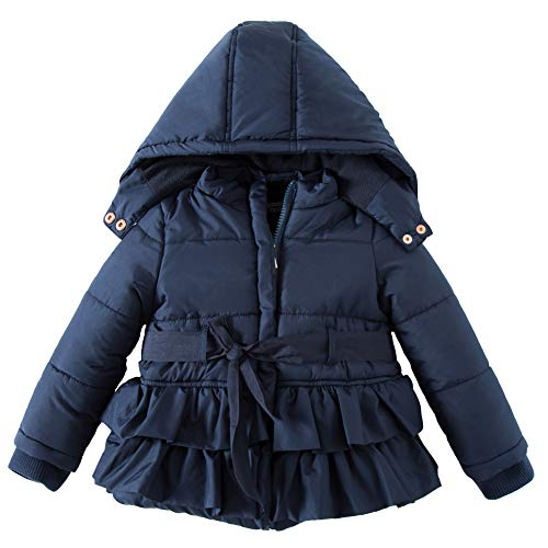 Price comparison product image SNOW DREAMS Little Girls Winter Puffer Jacket Warm Fleece Lined Hood Coat Dark Blue Size 3