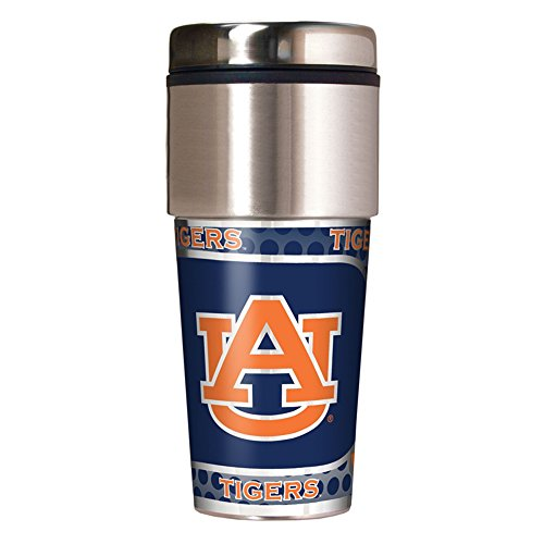 NCAA Auburn Tigers Travel Tumbler with Metallic Wrap, 16 oz,