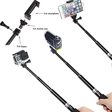 Luxebell 14-in-1 Accessories Kit for Gopro Hero 4 Session Black Silver Hero+ Lcd 3+ 3 2, SJ4000 SJ5000 SJ6000 - Selfie Stick / Head Strap / Chest Mount / Floating Grip / Suction Cup
