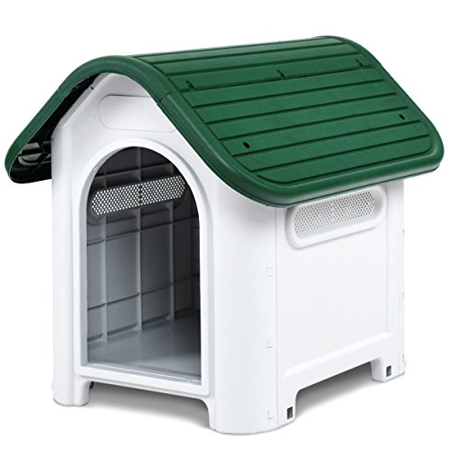 Giantex Outdoor Indoor Pet Dog House Portable Waterproof Plastic Puppy Shelter All Weather Roof Cat Dogs House with/without Skylight (Green, Without Skylight) For Sale