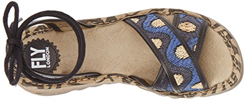 P500707001 as Fly Beige London Mujer Sandalias Multicolor Cu Black Blue 001 de B5aw5