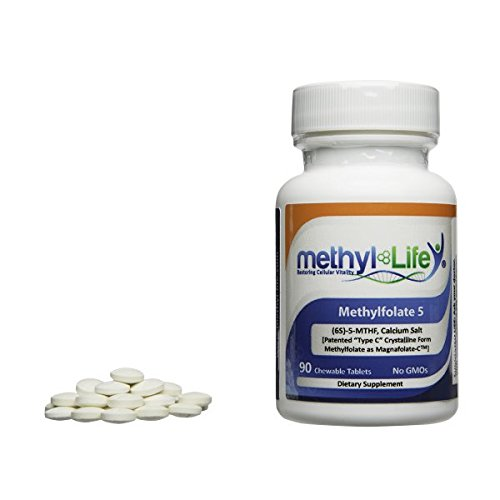 L-Methylfolate 5 - (6S)-5-MTHF, calcium salt (5,000 mcg per tablet) - [90 Non-GMO, Chewable Tablets]