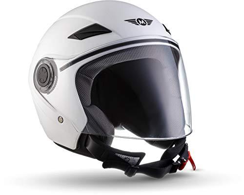 "MOTOHelmets® U52 ""Matt White"" · Jet-Helm · Motorrad-Helm Roller-Helm Scooter-Helm Bobber Mofa-Helm Chopper Retro Cruiser Vintage Pilot Biker Helmet · ECE Visier Schnellverschluss Tasche XS (53-54cm)"