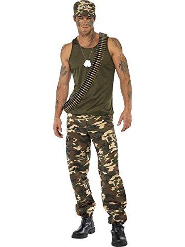 (Smiffys Men's Khaki Camo Costume Male Includes Vest and Trousers, Multi,)