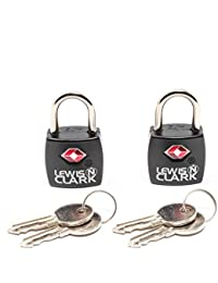 Travel Sentry TSA Lock + Mini Padlock for Luggage Suitcase, Carry On, Backpack, Laptop Bag, Purse, Airport, Hotel & Gym (Includes 4 Keys), 2-Pack, Black