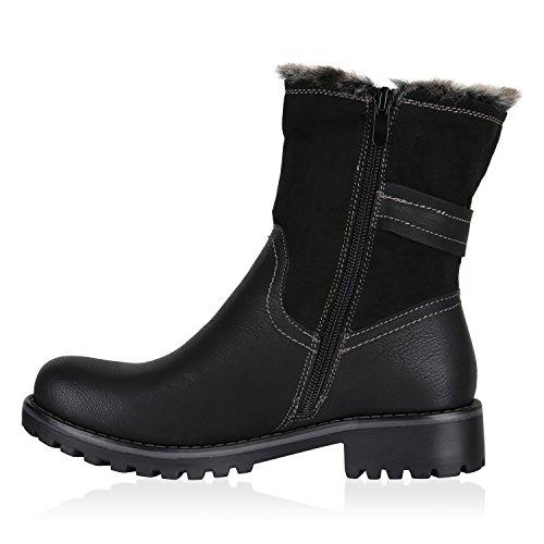 Klassische Damen Stiefeletten Blockabsatz Boots Gefütterte Stiefel Strass Umschlagbarer Schaft Satin Optik Schleifen Flandell Schwarz Amares