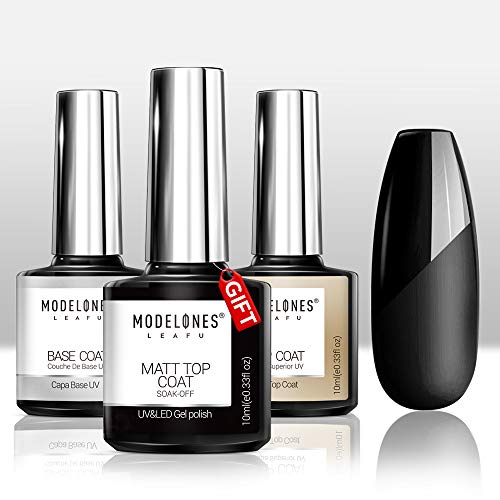 Modelones Set Matte Top Coat High Gloss Top Coat Base Coat,No Wipe Top Coat UV LED Gel Nail Polish Nail Lamp Soak Off Varnish 3Pcs 10ml (Best Matte Nail Polish Top Coat)