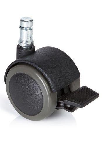 Hjh OFFICE 619037 ROLO STOP 10 50 mm Hartbodenrolle schwarz (5er Pack) Stuhlrolle Bürostuhl, Metallstift, Kunststoff, Polyurethan, mit Feststellbremse, Made in Germany