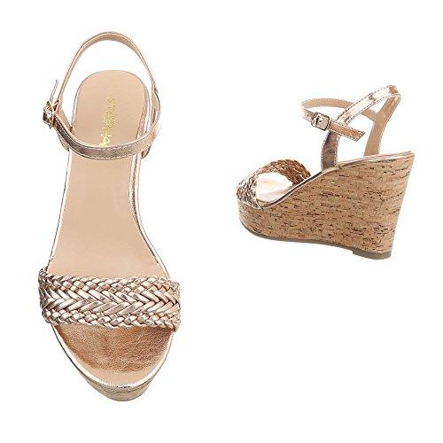 Ital SL Plataforma para Mujer de Design Sandalias 48 Gold Zapatos Cu a Sandalias Vestir de AvOq5pH
