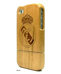 Basicase Realmadrid Football Team Engraved Cherry Walnut Wooden Hard Shell Cover Case for iPhone 4S 4 U616A with Special Free Gift by Bydico