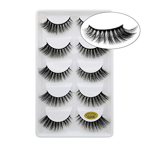 Lakkio 5 Pairs Pure Mink Hair Eyelashes 3D Eyelashes Extension Natural Dense False Eyelashes Handmade Lashes Set