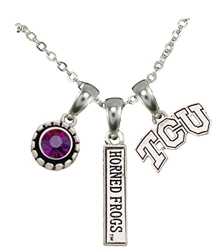 (Sports Accessory Store TCU Horned Frogs Texas Christian 3 Charm Purple Crystal Silver Necklace Jewelry)