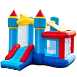 Costzon Inflatable Bounce House, Kids Slide Jumping Bouncer Castle w/Basketball Rim, Ball Shooting, Including Oxford Carrying Bag, Repairing Kit, Stakes, Without Blower