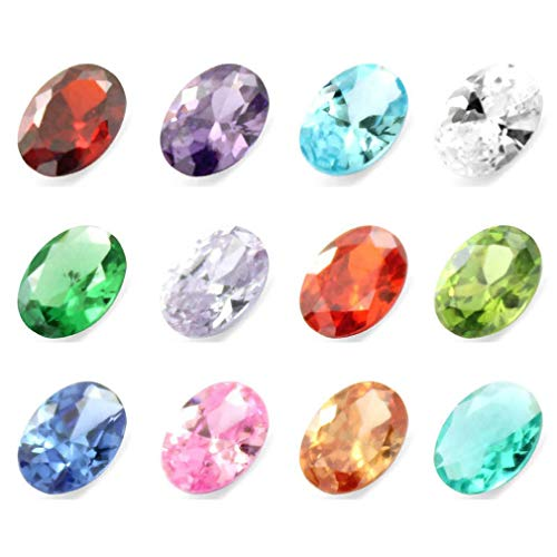 Oval CZ Cubic Zirconia Birthstones 5mm Floating Charms Crystal Set of 24 for Glass Floating Memory Lockets Pendant Necklace - Glass Ring Floating