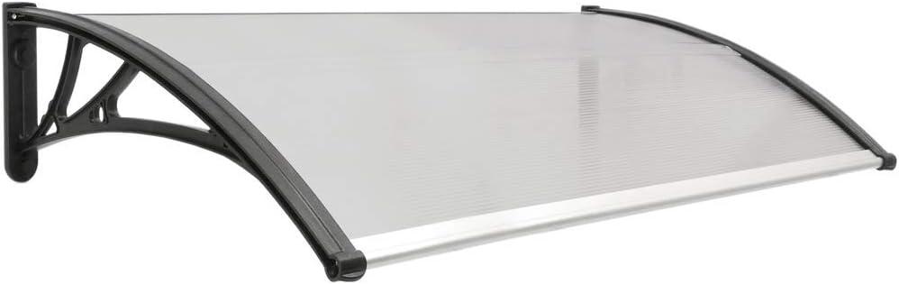 PrimeMatik - Tejadillo de protección 120x60 cm Gris Oscuro. Marquesina para Puertas y Ventanas con Soporte Negro