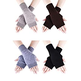 4 Pairs Cashmere Feel Fingerless Gloves with Thumb Hole Warm Gloves for Women and Men (Color Set 1), Color Set 1, 7.5 x 3.5 inches