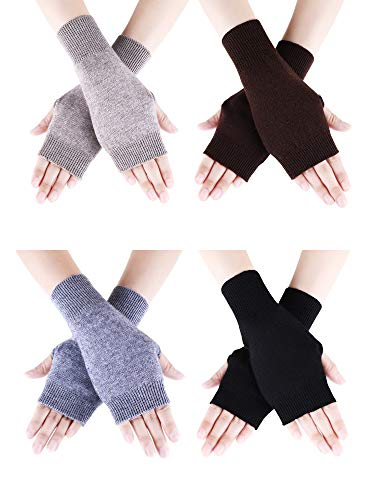 Tatuo 4 Pairs Cashmere Feel Fingerless Gloves with Thumb Hole Warm Gloves for Women and Men (Color Set 1)