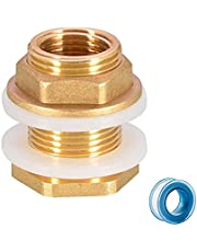 """1/2"""" Female 3/4"""" Male Solid Brass Water Tank Connector, Double Threaded Bulkhead Tank Fitting with 2 Rubber Ring Stabilizing"""