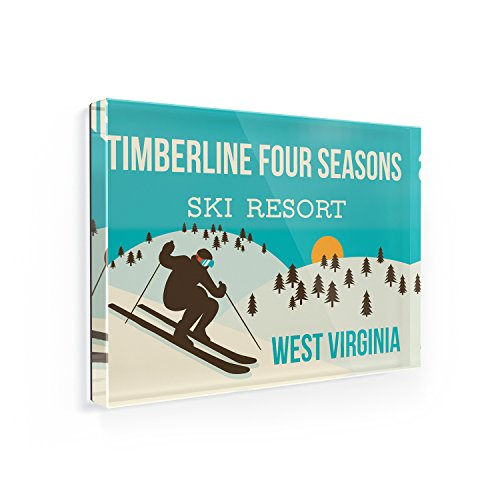 (Fridge Magnet Timberline Four Seasons Ski Resort - West Virginia Ski Resort - NEONBLOND)