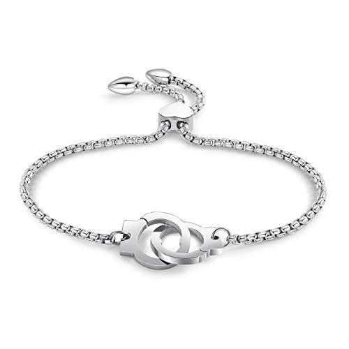 Link Bracelet for Women, Adjustable Charm Bracelet Rose Gold Stainless Steel Chain Bracelet for Best Friend (#5 Handcuffs, Steel Color)