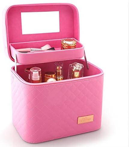 化粧品収納ボックス 化粧品ケース メイクボックス メイクボックス コスメボックス 大容量 収納ケース 小物入れ 大容量 取っ手付 (ピンク)