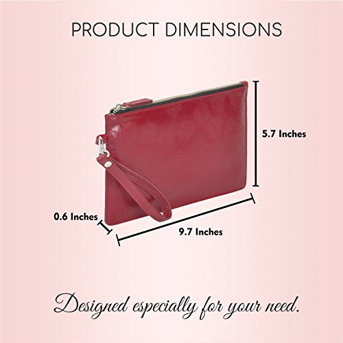Leather Purse Wristlet Removable Women's Maroon Wallet Strap With Clutch Premium aqwar