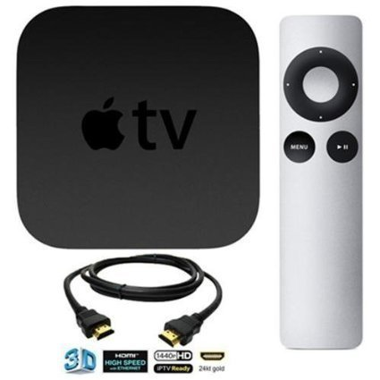 Apple TV MD199LLA Bundle including remote and High-Speed HDMI Cable (3 Feet) (Current Version) (Certified Refurbished)