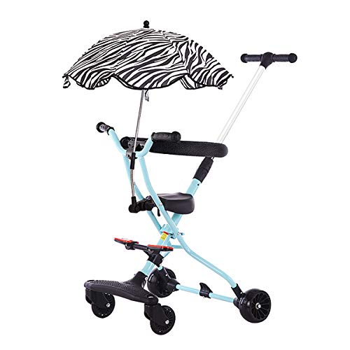 Foldable Baby Stroller, Lightweight Stroller with Parasol 360-Degree Rotatable Wheels and Soft Cushions Simple Bassinet for 1-4 Years Old Baby,Blue