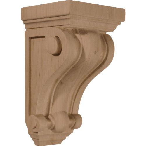 Traditional Corbel - Ekena Millwork CORW04X04X07DERW 4-Inch W x 4-Inch D x 7 1/2-Inch H Devon Traditional Wood Corbel, Rubberwood